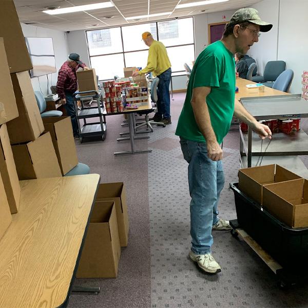 Volunteer Food Box Packing | Jim, Nick, Kenny